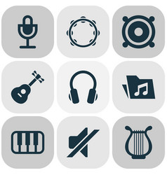 Audio icons set collection of lyre earphone vector