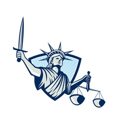Statue of liberty holding scales justice sword vector