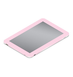 Realistic pink tablet in isometry isolated on a vector