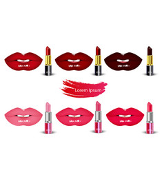 Set female lips kiss with lipsticks on isolated ba vector
