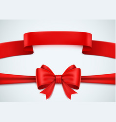 realistic red ribbon set on white background vector image