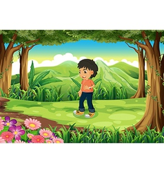 A teenager in the middle of the forest vector