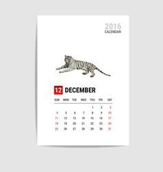 2016 december calendar tiger polygon vector