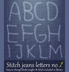 Stitched jeans letters vector