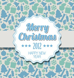 Vintage blue Christmas label vector image