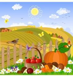 Autumn rural landscape vector