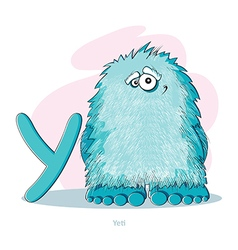 Cartoons alphabet - letter y with funny yeti vector