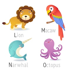 Alphabet with animals from l to o set 2 vector