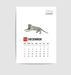 2016 december calendar tiger polygon vector