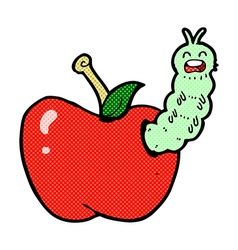 Comic cartoon bug eating apple vector