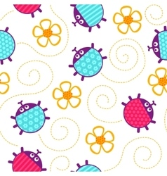 Ladybugs and flowers seamless pattern vector