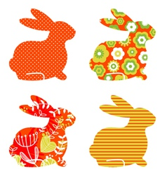 Abstract floral bunnies vector