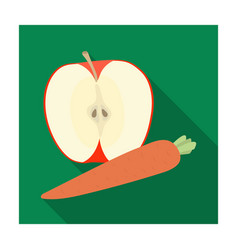 an apple and a carrot healthy eating for athletes vector image