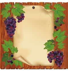 Background with grape and paper on wooden board vector image