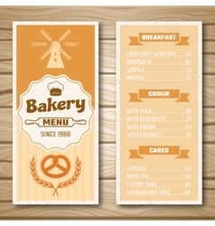 Bakery shop menu vector