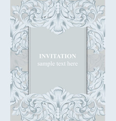 baroque frame decor for invitation wedding vector image vector image