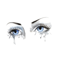 beautiful female eye with watercolor grunge vector image vector image