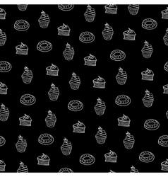 chalkboard seamless pattern desserts vector image