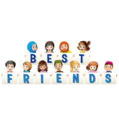 Children holding sign for best friends vector