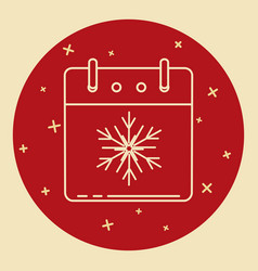 christmas calendar icon in thin line style vector image
