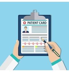 Clipboard in doctors hand vector image vector image