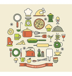 Cooking foods and kitchen color outline icons set vector