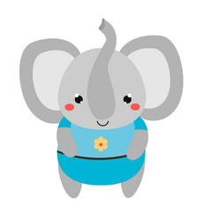 Cute elephant in blue clothes cartoon kawaii vector