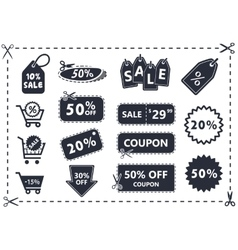 discount coupons sale icon set vector image vector image