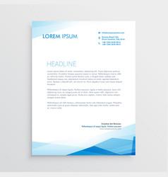 elegant blue letterhead template design vector image vector image