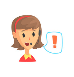 Female call center worker and speech bubble with vector
