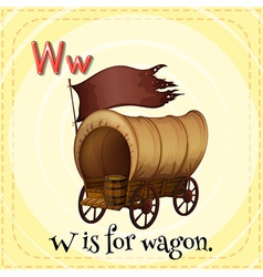 Flashcard alphabet w is for wagon vector