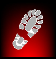 Footprint boot sign postage stamp or old photo vector