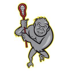 Gorilla ape with lacrosse stick cartoon vector