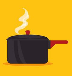 Hot saucepan icon vector