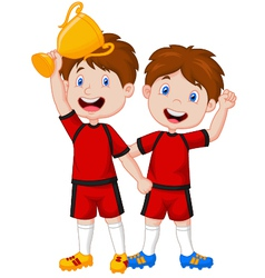 Little boys celebrate his trophy vector image