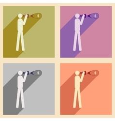 Modern collection flat icons with shadow man vector image vector image