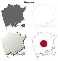 Okayama blank outline map set vector