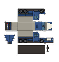 paper model of an old blue truck vector image vector image