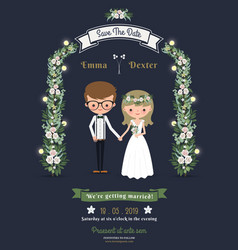 Rustic romantic cartoon couple wedding card vector