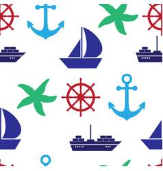 seamless pattern with sea symboles marine vector image vector image