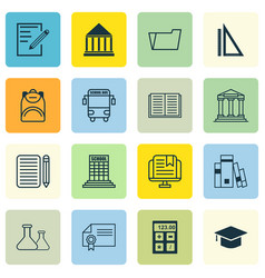 Set of 16 school icons includes academy chemical vector