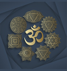 Set of seven chakras and symbol OM vector image