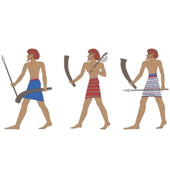 Set of three historic Egyptian soldiers vector image