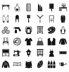 Sewing icons set simple style vector
