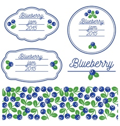 Stickers for jars of blueberry jam vector