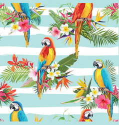 tropical flowers and parrot seamless background vector image vector image