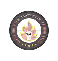 Vintage motorcycle club logo on white background vector