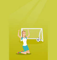 Young caucasian soccer player celebrating a goal vector