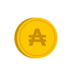 Gold coin with austral sign icon flat style vector