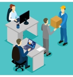 Delivery In Office Isometric Composition vector image